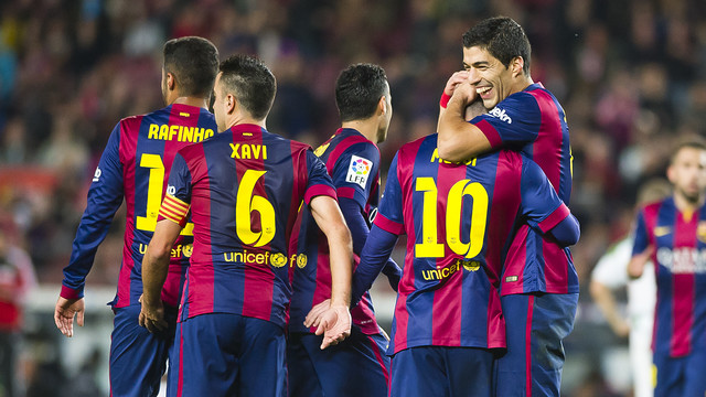 Xavi, Luis Suárez and Messi led Barça in their 5-0 win over Córdoba on Saturday afternoon at Camp Nou/ PHOTO: VÍCTOR SALGADO - FCB