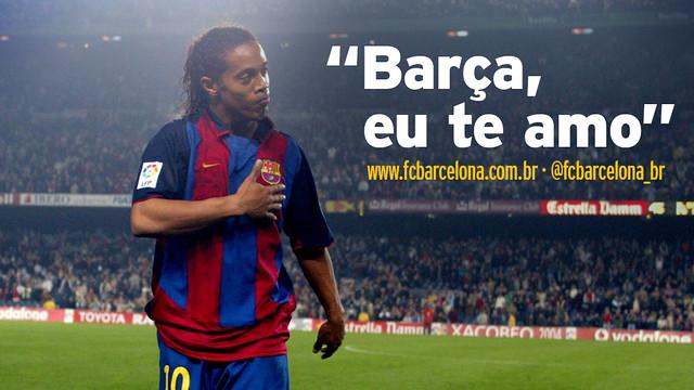 """Fontomontagem de Ronaldinho no Camp Nou com a frase: """"Barça eu te amo"""""""