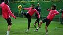 Marc Bartra and Sergi Roberto in training on Tuesday / PHOTO: MIGUEL RUIZ-FCB