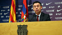 Josep Maria Bartomeu, pendant la conférence de presse. PHOTO: MIGUEL RUIZ - FCB
