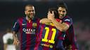Neymar and Suárez celebrate in Barça's 5-0 win over Elche on Thursday night at Camp Nou. PHOTO: VÍCTOR SALGADO-FCB.