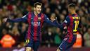 Messi e Neymar celebram um gol contra o Espanyol