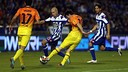 Leo Messi saat di Stadion Riazor dengan dikekelilingi dua tim lawan / FOTO: MIGUEL RUIZ - FCB