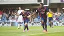 Dongou celebrates a goal at the MiniEstadi/ PHOTO:VÍCTOR SALGADO - FCB