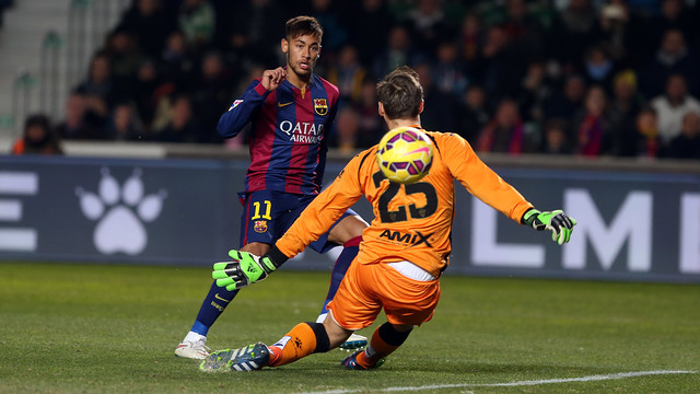 Neymar, marcando o 3 a 0 contra o Elche