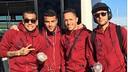 Alves, Rafinha, Adriano e Neymar, na viagem do Barça a Madrid