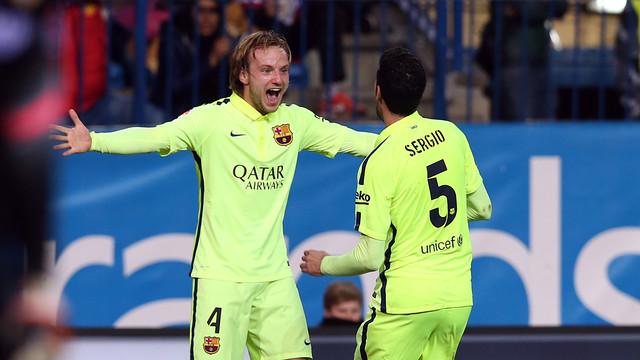 El migcampista del FC Barcelona, Ivan Rakitic, s'ha mostrat satisfet pel treball de l'equip al Vicente Calderón