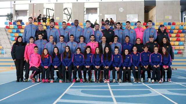 L'equip d'atletes blaugranes al complert