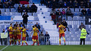 Barça B celebrate one of their four goals in Saturday's win at Sabadell / PHOTO: GERMÁN PARGA - FCB