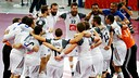 Sorhaindo and Karabatic celebrate the title with their teammates. / PHOTO: Qatar Handball 2015