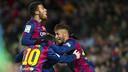 Rafinha, Messi and Neymar were Barça's goalscorers against Villarreal. / PHOTO: VÍCTOR SALGADO-FCB