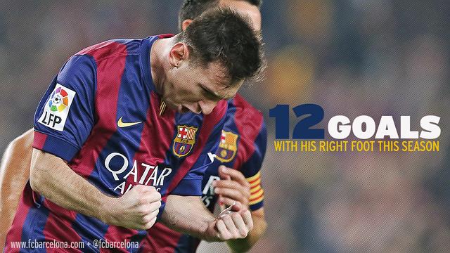 Design gambar Messi merayakan golnya dan bertuliskan 12 gol