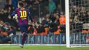 Messi celebrating another goal against Villarreal  / VICTOR SALGADO - FCB