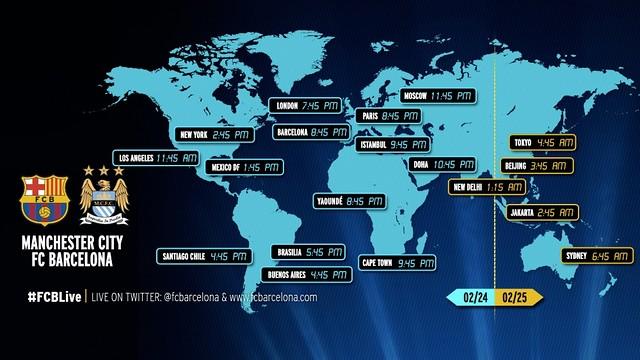 Manchester City v FC Barcelona around the world