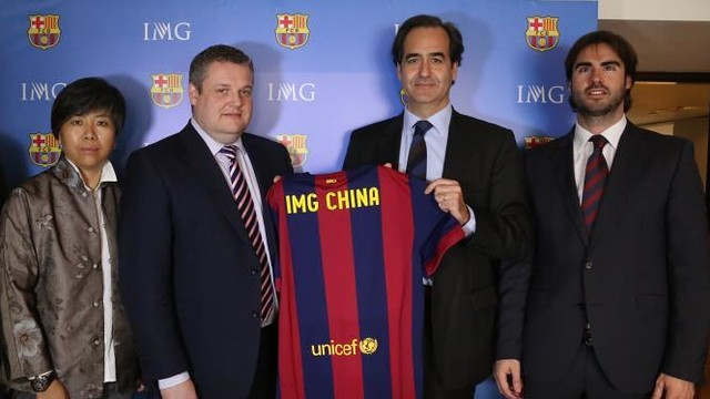 (from left to right) May Zhang, Head of IMG Football in China; Jason Hughes, Vice President, Football, IMG; Ignacio Mestre, CEO of FC Barcelona and  Xavier Asensi, Managing Director - Asia Pacific HQ / FCB