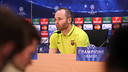 Andrés Iniesta was speaking after training at the Ciutat Esportiva / MIGUEL RUIZ - FCB