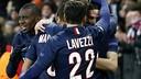 Paris Saint-Germain celebrate a goal against Chelsea. / PSG TEAM PICS