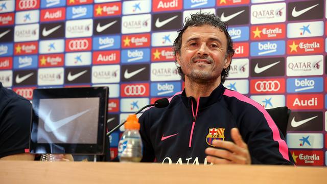 Luis Enrique, en la roda de premsa prèvia a la visita de l'Almeria / FOTO: MIGUEL RUIZ-FCB