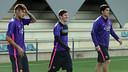 Neymar, Messi y Suárez, en el entrenamiento / MIGUEL RUIZ-FCB