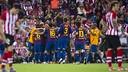 FC Barcelona celebrate scoring against Athletic in the final in 2012 / FCB Achive