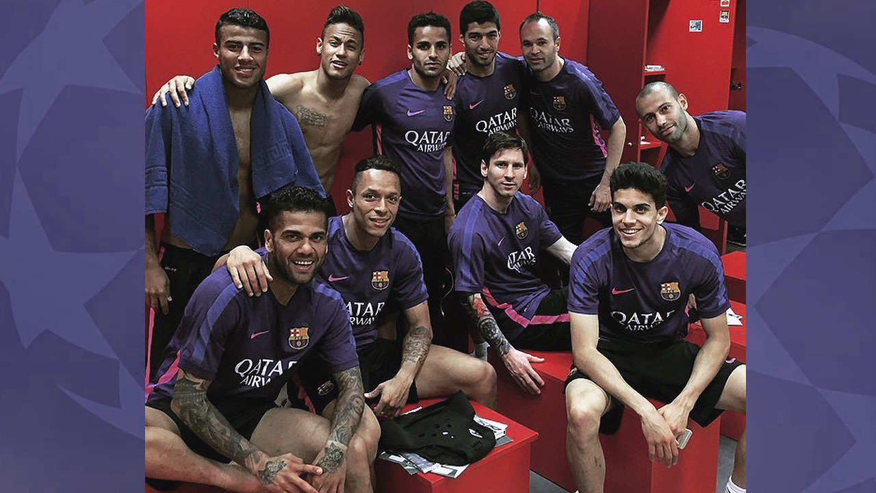 The first team players in the dressing room