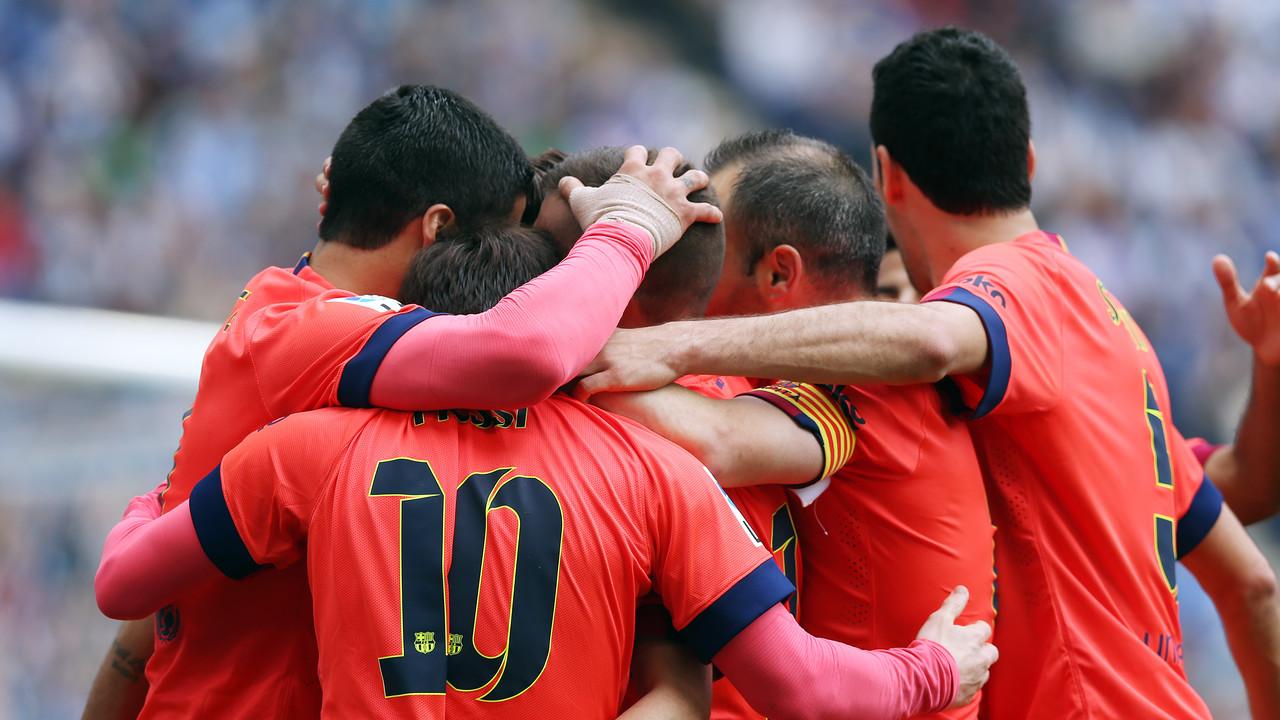 El Barça celebra uno de los goles en el Power8 Stadium / MIGUEL RUIZ - FCB