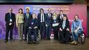 Bartomeu, amb Jordi Cardoner, Pilar Guinovart, Jordi Durà i els representants dels clubs europeus / VÍCTOR SALGADO - FCB