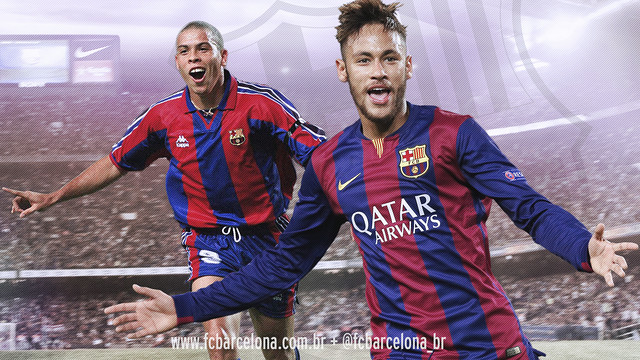 Fotomontagem com as fotos de Ronaldo e Neymar.