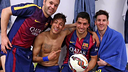 From left to right: Andrés Iniesta, Neymar, Luis Suárez, and Lionel Messi