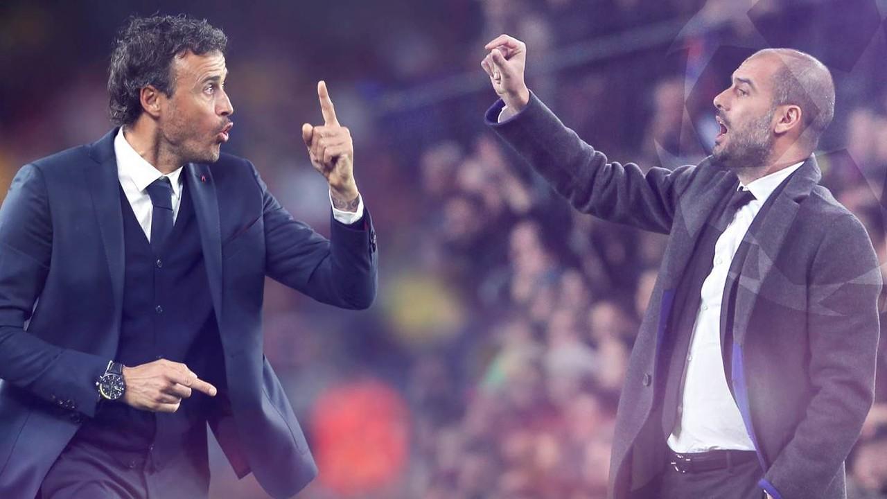 Luis Enrique e Pep Guardiola lutarão por uma vaga na final da Champions / Fotomontagem FCB