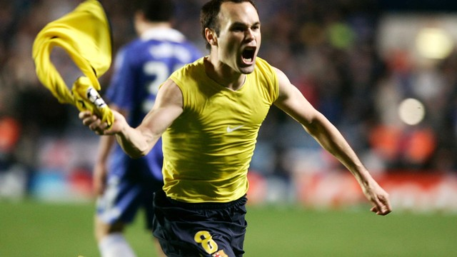 Iniesta celebrating the goal that saw Barça through to the 2009 Rome final / MIGUEL RUIZ - FCB