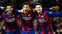 Luis Suárez, Neymar Jr and Lionel Messi celebrate a goal against Atlético Madrid. / MIGUEL RUIZ-FCB