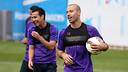 Pedro et Mascherano, pendant un entrainement / Miguel Ruiz FCB