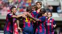Los jugadores del filial celebran un gol esta temporada / GERMAN PARGA - FCB