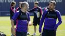 Iniesta y Jordi Alba, antes del entrenamiento de este jueves / MIGUEL RUIZ - FCB