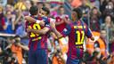 Messi, Rafinha y Neymar Jr celebran el primer gol contra el Deportivo / VÍCTOR PARGA-FCB