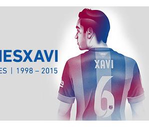 Fotomontagem de Xavi Hernández e o agradecimento do clube por seu trabalho