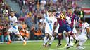Messi, en el cop de cap que ha suposat l'1-0 / VÍCTOR SALGADO-FCB
