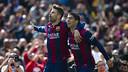 Piqué et Suarez célèbrent un but/ ARCHIVES FCB