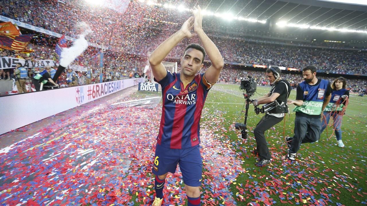 Xavi, agradecendo o carinho do Camp Nou