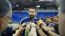 Nikola Karabatic answering questions at the Palau / VÍCTOR SALGADO-FCB