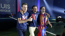 Head coach Luis Enrique with assistants Juan Carlos Unzué and Robert Moreno. / MIGUEL RUIZ - FCB