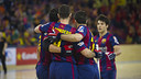 Álvarez, Panadero Gual y Pascual, celebrando un gol. FOTO: Arxiu FCB