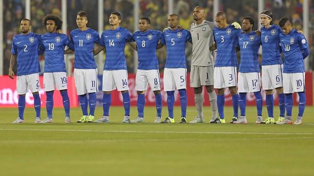 Os jogadores brasileiros antes do início da partida