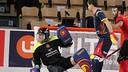 Egurrola y Gual, en una acción de los cuartos de final contra Mozambique / FEP.ES