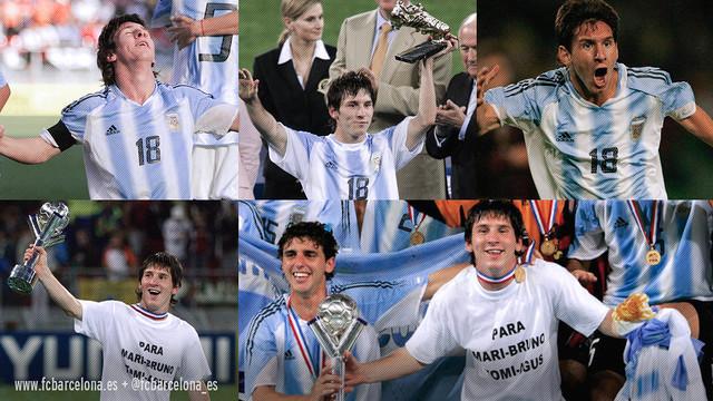 Leo Messi avec l'Argentine / Montage FCB
