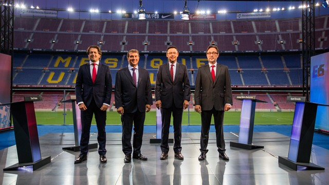 Freixa, Laporta, Bartomeu and Benedito before the debate at the Camp Nou / JOANA BURGUES