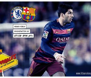 Montagem com foto de Suárez e os escudos de Barça e Chelsea.