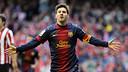 Leo Messi celebrates a goal at San Mamés / MIGUEL RUIZ-FCB