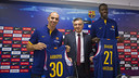 Arroyo and Diagne with Creus in the Palau Blaugrana / Víctor Salgado - FCB